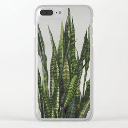 Succulent Sansevieria Snake Plant Painting Clear iPhone Case