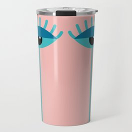 Unamused Eyes | Turquoise on Rosequartz Travel Mug