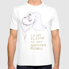 I'm not flirting, I'm just awkwardly friendly Mens Fitted Tee White MEDIUM