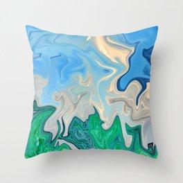 Ocean Meeting Land Marble Throw Pillow