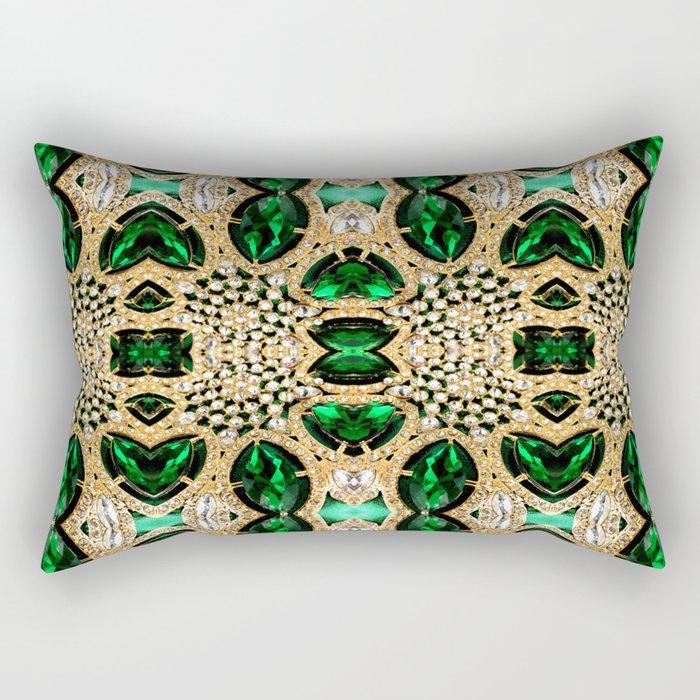 glamorous peacock colours champagne gold emerald green rhinestone Rectangular Pillow