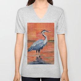 Great Blue Heron in Marsh Unisex V-Neck