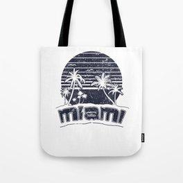 Miami Sunset Beach Vacation Paradise Island Retro Black Tote Bag