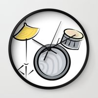 drum Wall Clocks featuring Drum Set by shopaholic chick