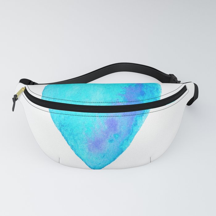Turquoise Heart Full Of Love Watercolor Fanny Pack