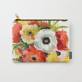 Flowers, Buttercups, orange red white yellow garden floral design Carry-All Pouch