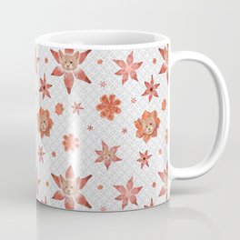 Cats on  red-orange flowers Coffee Mug