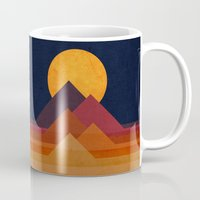 desert Mugs featuring Full moon and pyramid by Picomodi