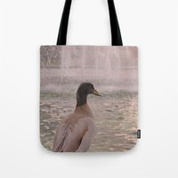 duck Tote Bags featuring Duck by LemonThree