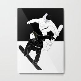 Snowboarders  Yin and Yang Metal Print