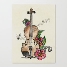 Violin and Flowers Canvas Print