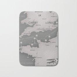 English Channel map (mono) Bath Mat