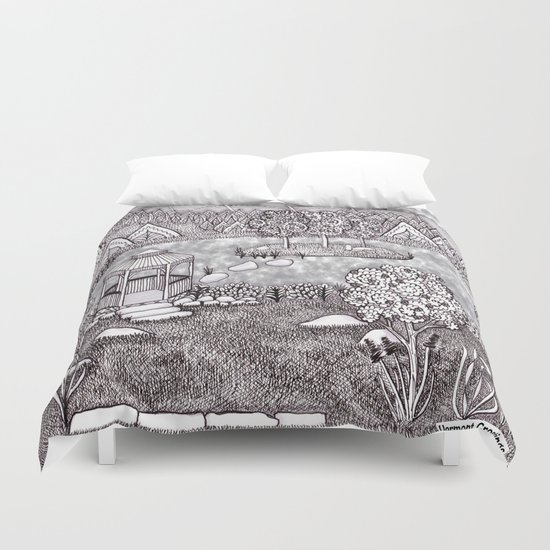 Zentangle Vermont Mountain Pond Duvet Cover