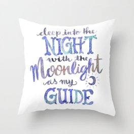 Watercolor Moonlight Lettering Throw Pillow