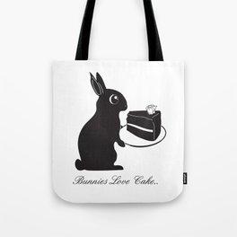 Bunnies Love Cake, Bunny Illustration, cake lovers, animal lover gift Tote Bag