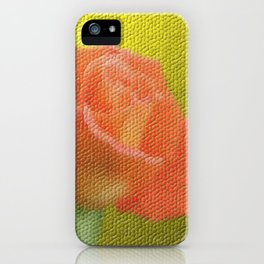 gold,single rose bloom in small mosaic on a colored background of small hexagons iPhone Case