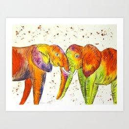 Colourful Elephants Kissing Art Print