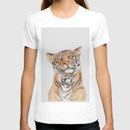 tiger and cub, motherhood,Tiger cub, Jungle animals, Nursery wall art T-shirt