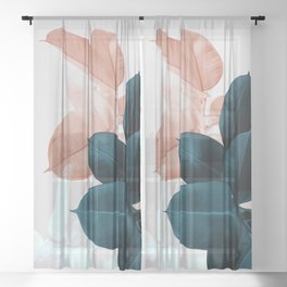 Blush & Blue Leaves Sheer Curtain
