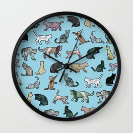Cats shaped Marble - Sky Blue Wall Clock