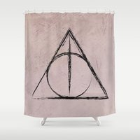 deathly hallows Shower Curtains featuring Deathly Hallows (Harry Potter) by Daizy Jain