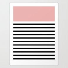 Pinstripe Color Block (Coral) Art Print