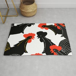 Black Roosters on White Background - Black Red White Color Palette #decor #society6 #buyart Rug