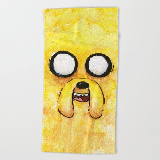 Jake Face Yellow Dog Cartoon Character Beach Towel