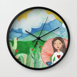 Girl thinking in the dessert about life and afterlife Wall Clock