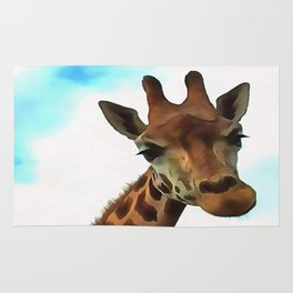 Hello up there! Fun Giraffe With Nerdy Expression Rug