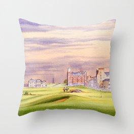 St Andrews Golf Course Scotland 17th Green Throw Pillow