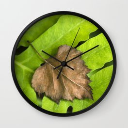 Old and New Leaf Abstract Art Wall Clock