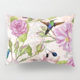 Vintage Roses and Hummingbird Pattern Pillow Sham