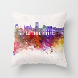 Saint Etienne skyline in watercolor background Throw Pillow