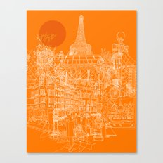 Paris! Orange Sun Canvas Print