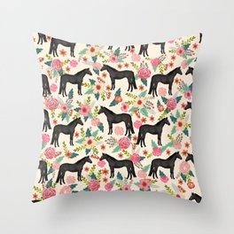 Black Horse Floral - cream, black beauty, horse, arabian horse, florals, floral, horse blanket, Throw Pillow