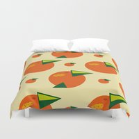 orange pattern Duvet Covers featuring orange pattern by Avrora-slip