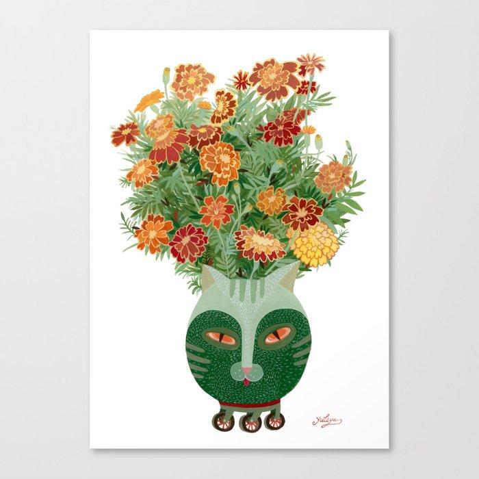 Marigolds in cat face vase  Canvas Print