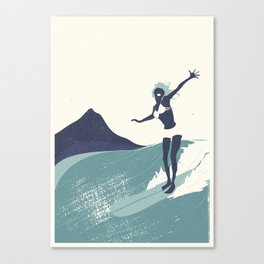 Surfer Girl in Blue Canvas Print