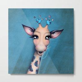 Pin Cushion Giraffe Metal Print