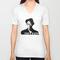 tom waits V-neck T-shirts featuring Tom Waits Painting by All Surfaces Design