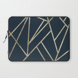 Classic Dark Blue Gold Geo #1 #geometric #decor #art #society6 Laptop Sleeve