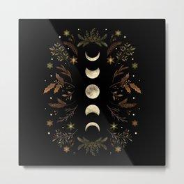 Moonlight Garden - Winter Brown Metal Print