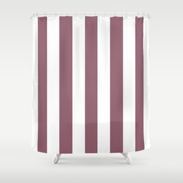 Raspberry glace violet - solid color - white vertical lines pattern Shower Curtain