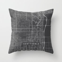 Scottsdale Map, Arizona USA - Charcoal Portrait Throw Pillow