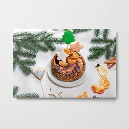 Picture Christmas little stars Cakes Mandarine Foo Metal Print