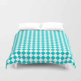 Small Diamonds - White and Cyan Duvet Cover