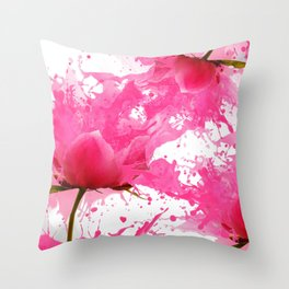 Girly fuchsia watercolor splatters flowers pattern  Throw Pillow