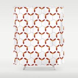 Red Japanese Maple Tree Samara Triangular Hex Pattern Shower Curtain