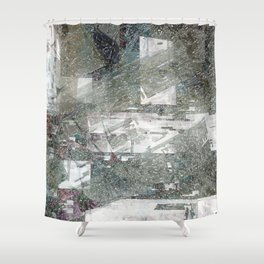 Abstract paint weathered chaotic wall texture material surface colorful digital illustration backgro Shower Curtain